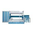 Bộ nội thất giường tầng màu xanh