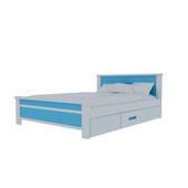 Giường đơn có ngăn kéo màu xanh