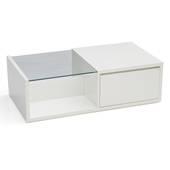 Bàn trà sofa Osaka nửa mặt kính trắng chéo