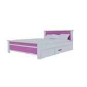 Giường đơn có ngăn kéo màu hồng nhạt