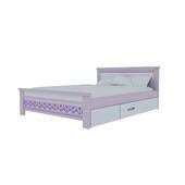 Giường đơn có ngăn kéo in hoa văn 1