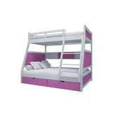 Giường tầng thang giữa màu hồng đậm