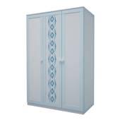 Tủ quần áo gỗ tự nhiên in hoa văn xanh 1