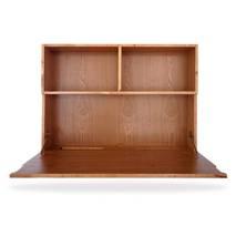 Bàn gập treo tường liền giá sách phủ veneer gỗ tự nhiên