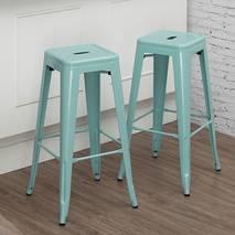 Ghế bar Tolix chân cao màu xanh ngọc 5