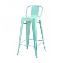 Ghế bar Tolix lưng thấp màu xanh ngọc 1