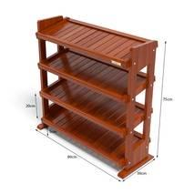 Kệ dép 4 tầng IB480 gỗ cao su 80x30x75 cm màu cánh gián kt