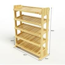 Kệ dép 5 tầng IB580 gỗ cao su màu tự nhiên 3