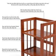 Kệ sách 3 tầng HB340 gỗ cao su màu tự nhiên 4