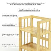 Kệ sách 4 tầng HB490 gỗ cao su màu tự nhiên (90cm)