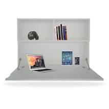 bàn treo tường liền giá sách trắng
