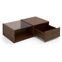 Bàn trà sofa Osaka nửa mặt kính phủ venneer walnut mở