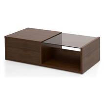Bàn trà sofa Osaka nửa mặt kính phủ venneer walnut nghiêng 45