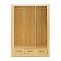 Tủ áo Cuba gỗ sồi 3 cánh mở