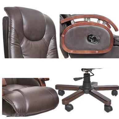 Hình cận cảnh ghế da giám đốc IB316 chân gỗ cao cấp màu nâu