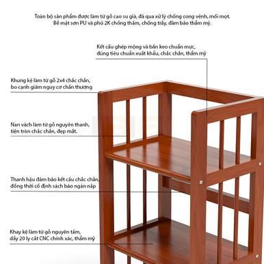 Kệ sách 5 tầng HB563 gỗ cao su màu cánh gián 1