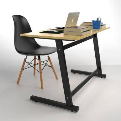 Bộ bàn ghế làm việc Rec-Z đen và ghế Eames chân gỗ đen